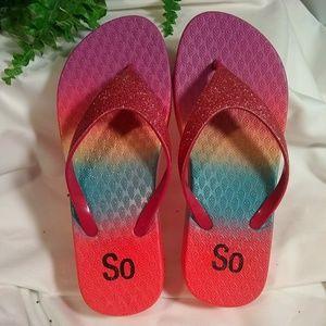 NWOT - SO Pink & Rainbow detail Flip-Flops. Sz 5/6
